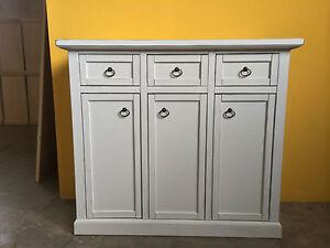 Credenza Bassa Arte Povera Bianca : Credenza in legno massello bianca cassetti porte arte povera