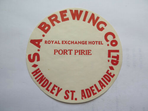 SA BREWING Co ROYAL EXCHANGE HOTEL BEER KEG LABEL c1970s PORT PIRIE SOUTH AUST