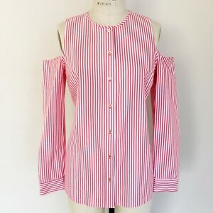 1a387dbf6c5d1 Michael Kors White Red Striped Cold Open Shoulder Long Sleeve Shirt ...