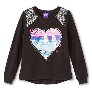 787f4b83b83b8 Jem   Holograms Girls Size Medium 7 8 Black Heart Sequin Long Sleeve ...