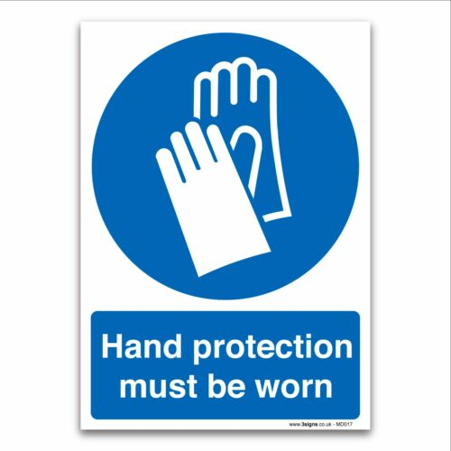 Hand protection must be worn 1mm Rigid Plastic Mandatory Safety Clothing Signs