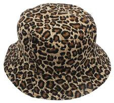 Women's Fashion Leopard Summer Bucket Flat Hats Animal Printed Cotton Polyester