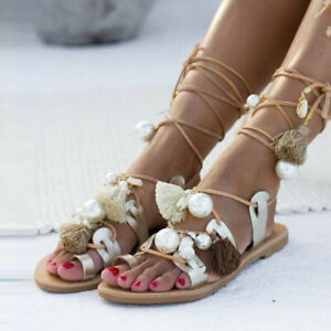Details about Pretty Women tassel Gladiator Sandals Lace Up Flat Heel Shoes Ankle Strap Summer