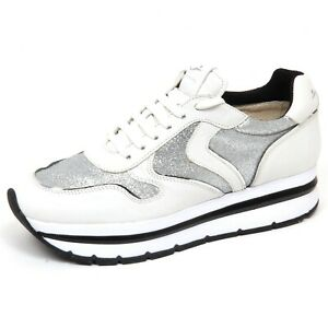 official photos 71fed 62a9d Details about F4572 sneaker donna silver/white VOILE BLANCHE MAY scarpe  glitter shoe woman