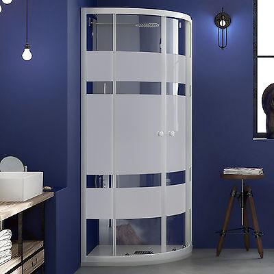 DEGHI bagno cabina box doccia nicchia vetro serigrafato profili alluminio bianco