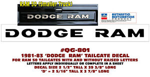 """5 1//2/"""" LONG QG-339 1976-86 DODGE TRUCK TAILGATE NAME DECAL SMALL VERSION"""