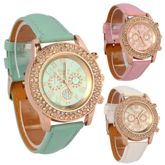 Women Vogue Crystal Dial Ladies Charm Quartz Analog Leather Bracelet Wrist Watch