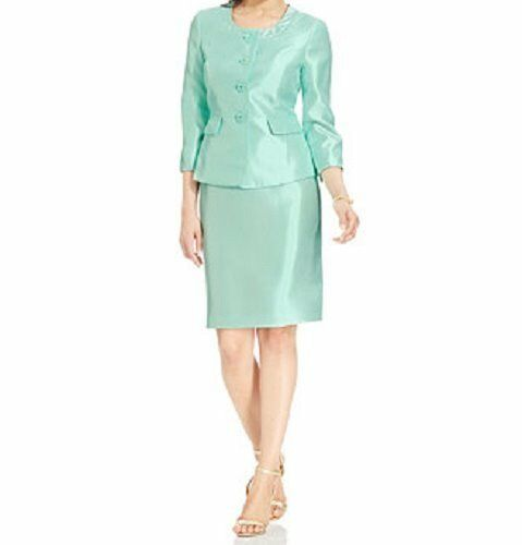 Le Suit 4239 Womens The Hamptons Green Shantung 2pc Skirt Suit 8