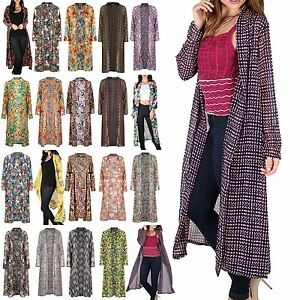 Womens Ladies Long Line Chunky Womens Open Front Midi Length ...