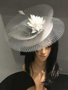 NIGEL RAYMENT NAVY BLUE WEDDING ASCOT HAT FORMAL FASCINATOR  MOTHER OF THE BRIDE