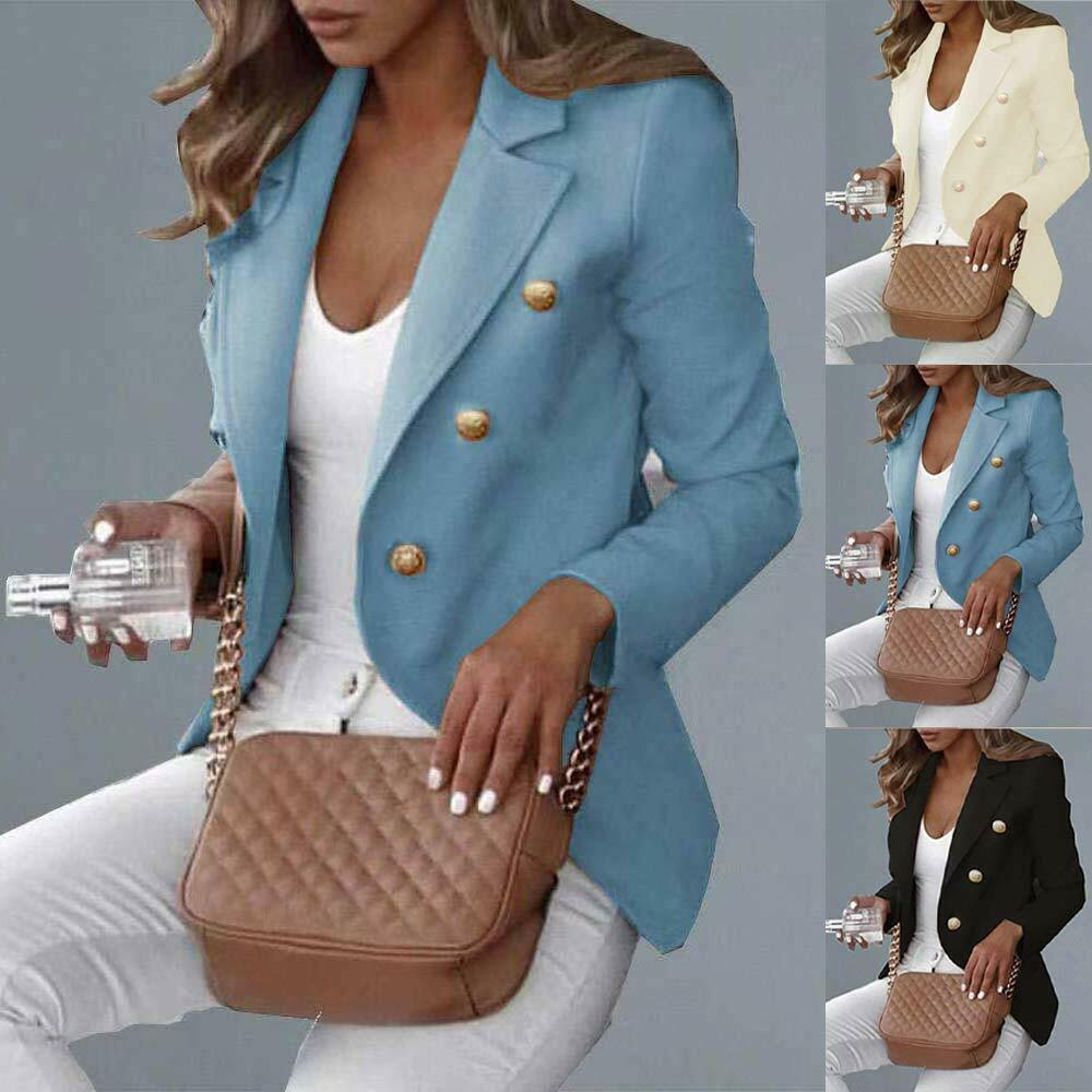 Womens Double Breasted Blazer Suit Slim Fit Military Jacket Lapel Outerwear Coat