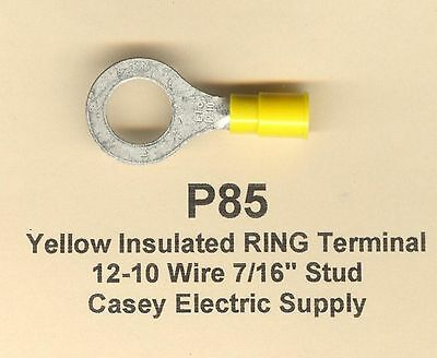 "50 Yellow Insulated RING Terminal Connector #12-10 Wire Gauge AWG 7/16"" Stud USA"