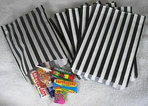 100-Black-amp-White-Candy-Stripe-Paper-Sweet-Bags-Wedding-5-034-X-7-034-Pick-039-n-039-Mix-Bag