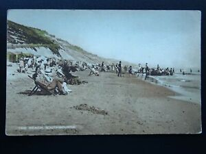 Dorset-Bournemouth-SOUTHBOURNE-The-Beach-Old-Postcard-by-A-H-J-Series