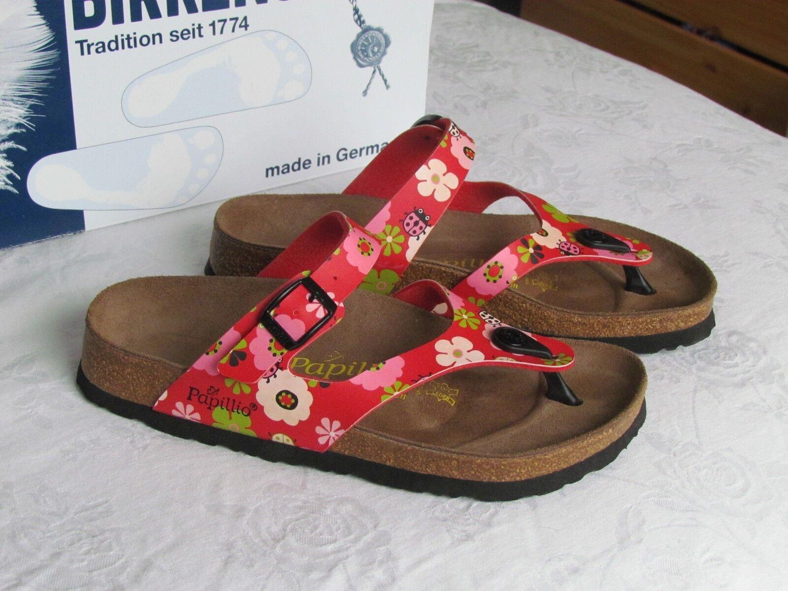Nuevas damas Papillio by Birkenstock Rojo Ladybird Mulas Sandalias UK Size 3.5