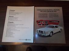 1979 Chrysler 300 Sales Brochure / Scarce Piece !!