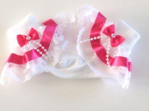 Fuschia beads bow girls frilly socks various sizes