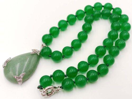 """Ntaural 10 mm Vert Jade Pierres Précieuses Perles /& 18KGP Jade Collier Pendentif 18/"""""""