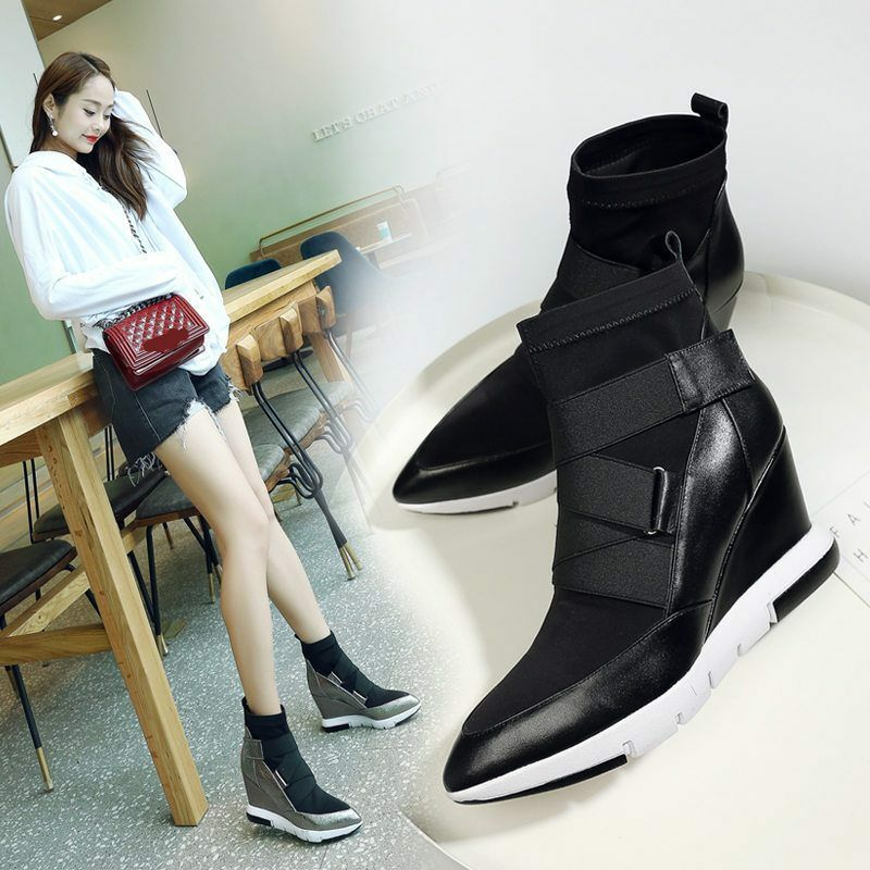 New Womens Leather Pointed Toe Strappy High Top Sneaker Wedge Wedge Wedge Sport Ankle Boots c54763