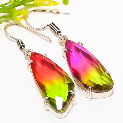 "Fashion Jewelry Jewelry & Watches Bi-color Tourmaline Gemstone Fashion Jewelry Earring 2.0"" Se5340"