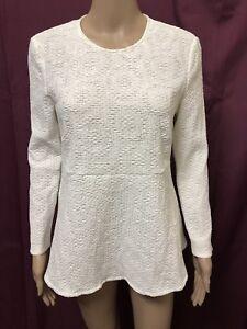 Scanlan-Theodore-Peplum-Top-Womens-Sz-10-Great-Cond-L-S-Blouse-Fabric-Design