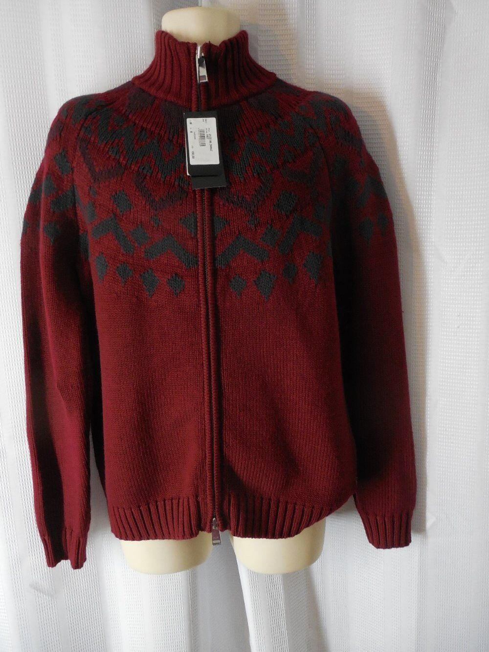 ARMANI EXCHANGE Cardigan Large Maroon Fair Isle Nordic Zip up NWT