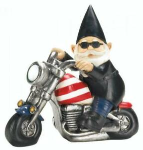 Patriotic Biker Gnome Solar Motorcycle Statue USA American Flag July 4th
