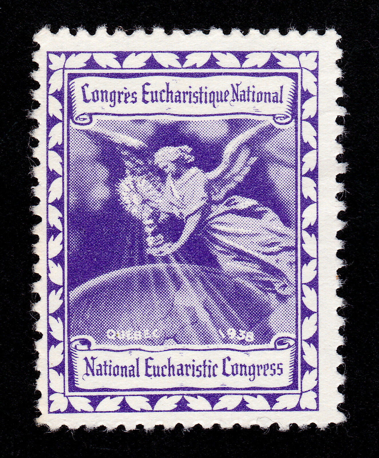 REKLAMEMARKE POSTER STAMP CANADA QUEBEC 1938 NATIONAL EUCHARISTIC CONGRESS MNG
