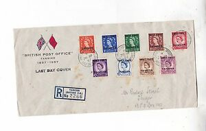1957 Reg.last day cover with nine stamps e1576