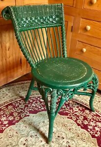 Details about Antique Fancy Victorian Painted Ball & Stick Wicker Garden  Chair ca 1880s