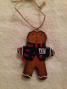 NEW YORK NY GIANTS TEAM GINGERBREAD MAN CHRISTMAS TREE ORNAMENT NFL