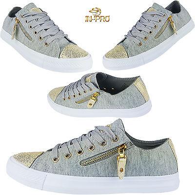 Glitzer Damen Sneakers Low Metallic Grau Flats Turnschuhe Schnürer