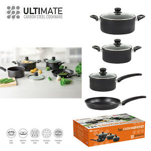 7PC-Carbon-Steel-Non-Stick-Cookware-Set-ALL-HOBS-Pan-Pots-Glass-Lid-Casseroles