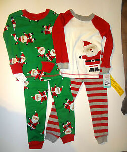 Carters Christmas Santa Clause Boys 4 Piece Pajamas Sleepwear 12M ...