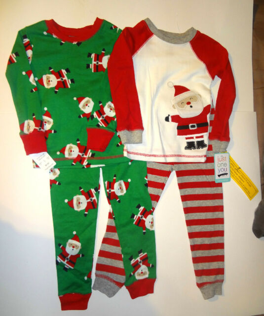 Carters Christmas Santa Clause Boys 4 Piece Pajamas Sleepwear 12M 18M 2T 4T  NWT 69ce9e040