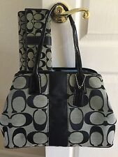 COACH  BLACK SIGNATURE STRIPE CARRY ALL HANDBAG SATCHEL LO871-13533 &WALLET