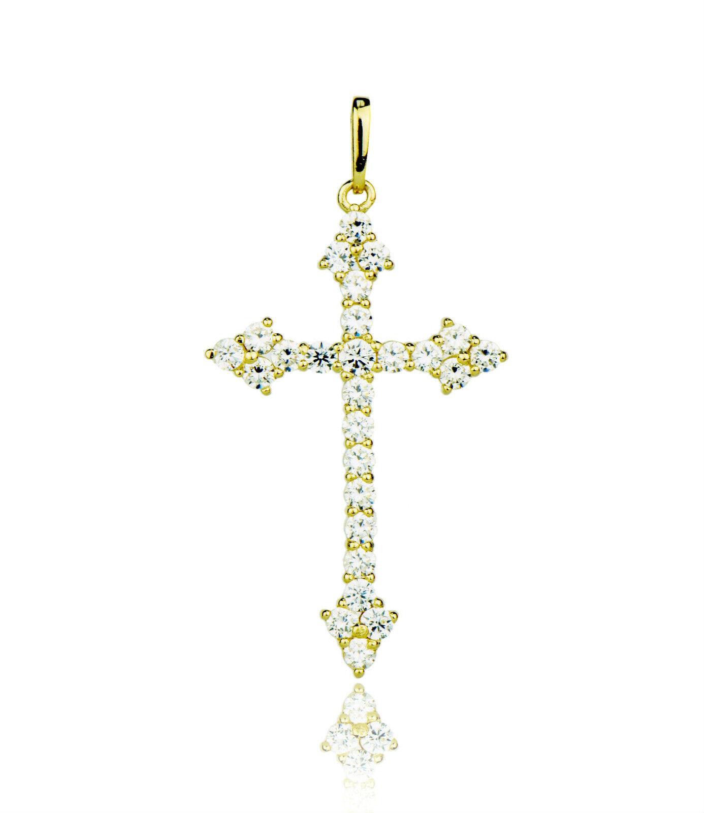 14k Yellow or White gold Cz Cross Pendant