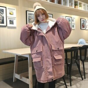 Women-Fleece-Lined-Corduroy-Hooded-Jacket-Winter-Oversize-Coat-Retro-Loose-Parka