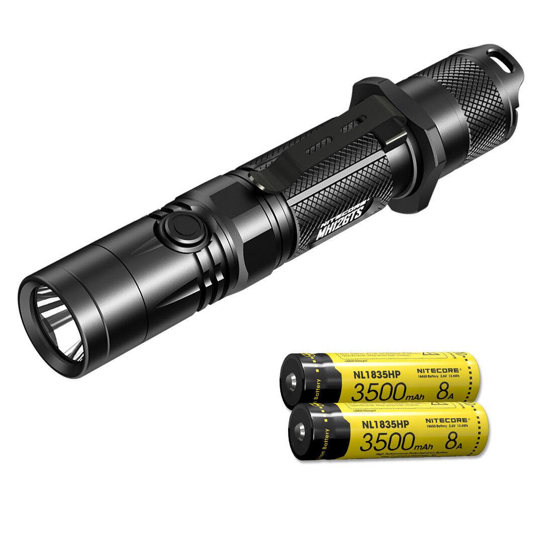 Nitecore MH12GTS Linterna Recargable De Tiro Largo 1800lm y 2 baterías de primera calidad