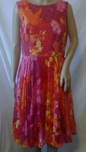 Adrianna-Papell-Sleeveless-Pleated-Dress-Size-10-Orange-Multi-Color-Lined
