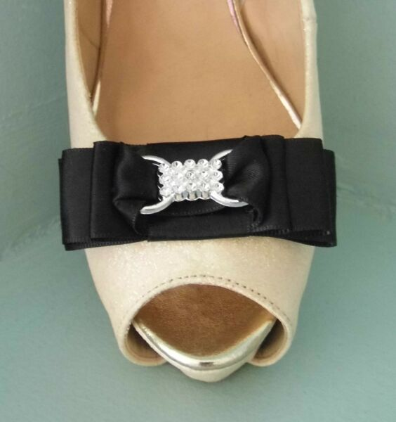 2 Black Satin Bow Clips For Shoes With Buckle Style Centre - Request Any Colour Vivo Y Grande En Estilo