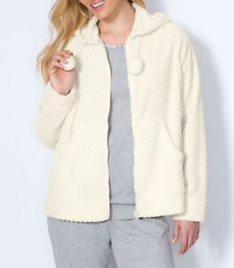 fe37e18d47d5df Dreams & Co. Plus Size Ivory Long Sleeves Plush Hooded Bed Jacket ...