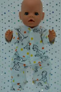 Play-n-Wear-Dolls-Clothes-For-17-034-Baby-Born-PJ-039-S-FLANNELETTE-PANTS-TOP-BOOTIES