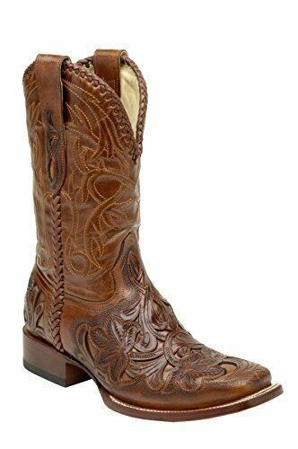 CORRAL Men Chedron Cognac Willow Tooled Square Toe Cowboy Square Toe Boot A6711