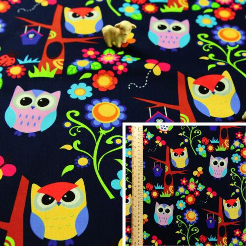 Navy Multicolour Fat QuarterCotton Fabric FQSew Owls Floral Flowers Craft