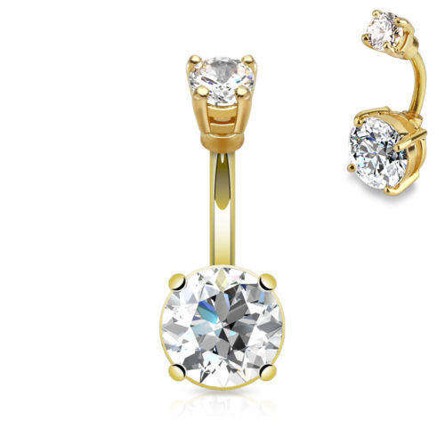 """1pc Giant 10mm Prong Set CZ Gem Belly Ring Navel Naval 14g 3//8/"""" 14kt Gold Plated"""