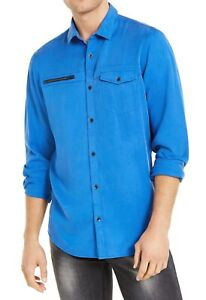 INC Mens Todd Shirt Blue Small S Zip-Accent Single-Pocket Button Down $65 246