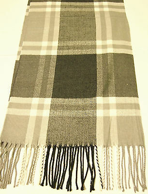 NEW Cashmere Scarf  Dark Gray White Plaid Checks Stripes Soft Warm Men Women C10