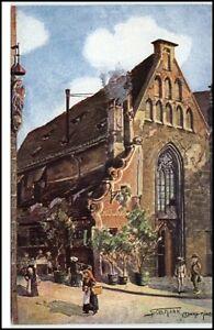 Nuernberg-Kuenstlerkarte-Postkarte-1910-20-Partie-am-Bratwurstgloecklein-Personen