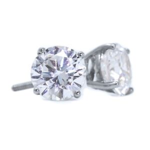 32cf4e620 2 Ct Round Cut Stud Diamond Earrings in Solid 14k White Gold Screw ...